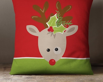Pillow Cover or Pillow | Holiday Reindeer Throw Pillow | Christmas Throw Pillow | 3 fabric choices