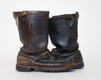 Vintage Gokey Brown Leather Snake Proof Engineer Hunting Motorcycle Boots, 9.5