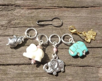 Elephant Knitting Stitch Markers and Progress Keeper Set with Stitch Holder Pin 6pcs
