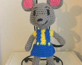 Made to Order: Crochet Amigurumi Adorable Girl Mouse with Blue Jumper Doll