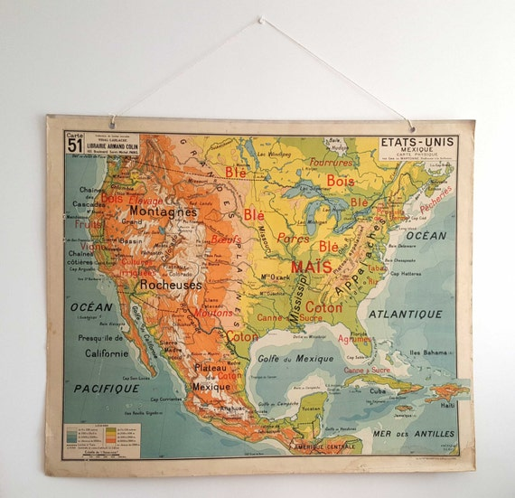 Vintage US Map US Map Wall Art Antique Map US Antique