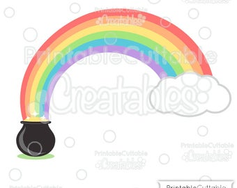 Pot of Gold Rainbow SVG Cut File & Clipart E242 - Includes Limited Commercial Use!