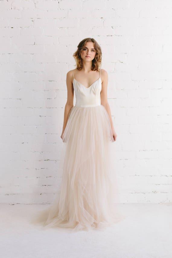 Blush wedding dress silk wedding gown bohemian wedding blush wedding dress silk wedding gown bohemian wedding dress blush tulle skirt melissa junglespirit Images