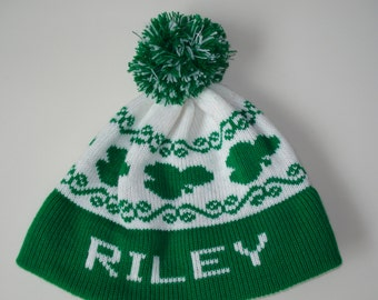 Personalized and machine washable child's knit hat- Ryan, Riley or Erin