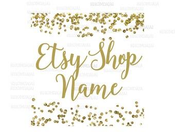 Gold Shop Logo - Gold Etsy Branding - Etsy Store Branding - Etsy Store Graphics - Modern Shop Icon - Gold Glitter