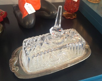 Vintage Rogers Silver and Cut Glass Butter Dish FANCY!