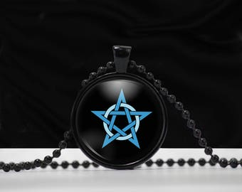 Pentagram Necklace - Pentacle Pentagram Glass Pendant jewelry Blue Pentagram on White Background -  E001
