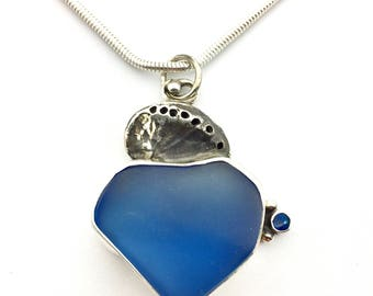 Blue Seaglass Necklace, Beach Glass Pendant with Shell and Opal, Glass Necklace