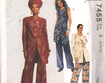 McCalls 7455 Misses Easy Tunic Pants Hat Pattern African Womens Sewing Size 8 10 12 Bust 31 32 34 OR 12 14 16 or 14 16 18 Or 10 12 14 UNCuT
