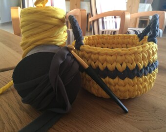 Beautiful high quality yellow&grey cotton basket