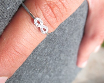 Infinity Ring with Cz Sterling Silver- Mini Infinity (D)