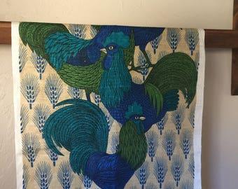 Vintage Rooster Tea Towel by Designer Lois Long