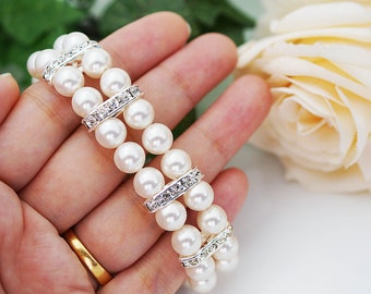 Wedding Jewelry Bridal Bracelet Bridesmaid Bracelet 2 strands of Crystal White Swarovski Pearls with rhinestone Spacers Bracelet
