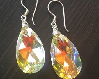Swarovski Crystal Large Dangle Earrings