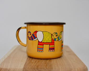 Elephant ENAMEL MUG - big, yellow - tea, coffee, hot chocolate, camping, handcrafted, retro, gift for him, gift for her, gift for children