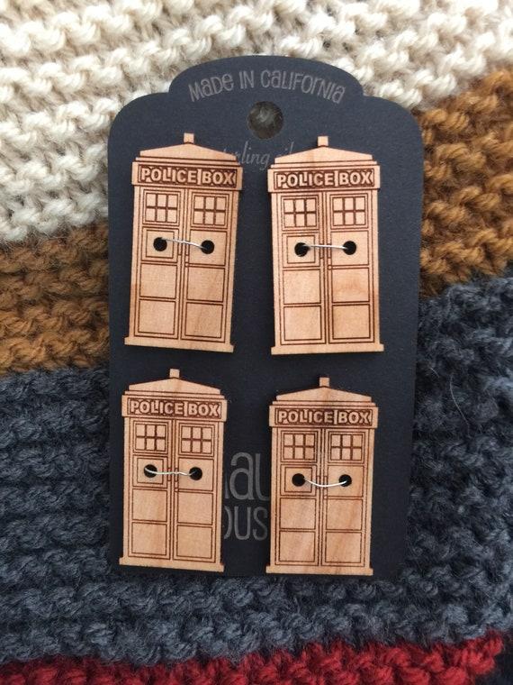 """Set of 4, 1.5"""" Tardis buttons"""