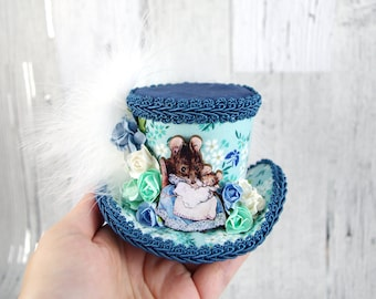 Blue, Teal, and White Mouse Cutout with Paper Flowers Small Mini Top Hat Fascinator, Alice in Wonderland, Mad Hatter Tea Party, Derby Hat