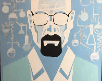 Portrait of Breaking bad Walter white, Original signed painting on canvas