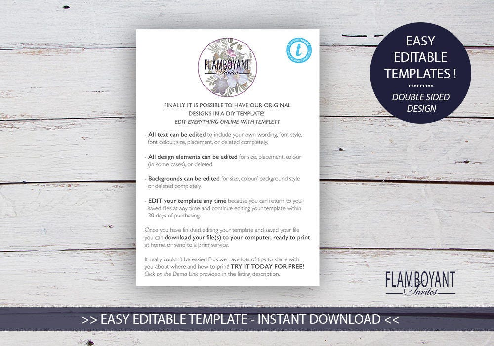 LOVE POEM DIY Printable Invitation Template RoseGold Black
