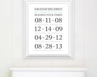 Grandchildren Dates, Grandparent What a difference a day makes - DIgital art file, Grandchildren details