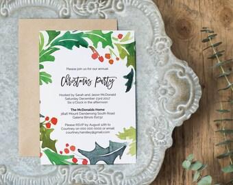 Christmas Invitation , Printable Christmas Holly Invitation Template, Instant Download Editable PDF WLP494