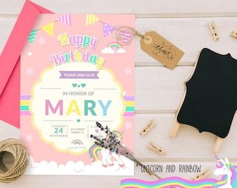 Cute Unicorn Birthday invitation- Digital Invite. 5x7