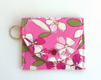 Floral Coin Purse for Spring Keychain Wallet Coin purse keychain Vegan Wallet, Mother's day gift Girlfriend gift or Treat yourself