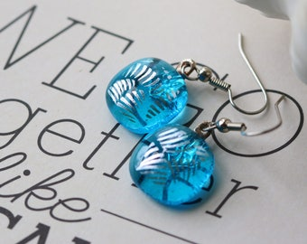 Aqua and Silver Dichroic Fused Glass Earring Drop Dangle Earrings, Dichroic, 0160, GetGlassy
