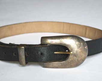 Vintage Black Leather Belt with Silver Plate Buckle.