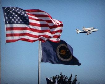 "Shuttle photograph, NASA, patriotic, wall art -- ""Pride of America"", a 5x7-inch fine art photograph"