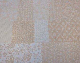"Assortment of ""beige"" patterned papers"