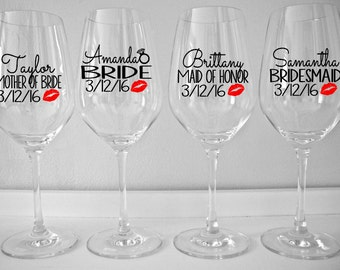 Personalized Bridal Party Wine Glass Decals with Lips, Custom Wedding Party Wine Glass Decals with Title and Date. Glasses NOT Included