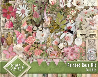 Digital Scrapbooking Kit, PAINTED ROSE gorgeous vintage flowers and greenery, includes some unique elements
