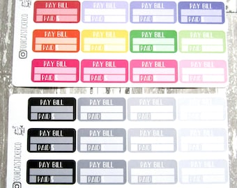 Pay Bill Planner Stickers, Finance, Budget, Budgeting, Adulting, Matte Removable