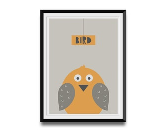 Funny Bird Illustration, Nursery Print, Animal Illustration, Baby Gift Idea, Original Poster, Nursery Wall Art, Modern Animal Print for Kids