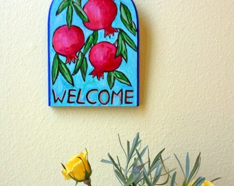 Pomegranate Welcome Sign, Pomegranate Art, Rimon, Pomegranate Painting, Fruit Painting, Jewish Holiday Gifts, Pomegranate Tree, Hand Painted
