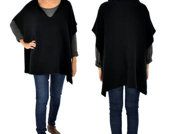 IH600SW poncho hood Cap Cape vest knitted layered look one size black Gr. 38 40 42 44 46 48 50