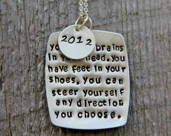 You have Brains Necklace,  Funny Gift, Choose your Path Quote, Square Personalized Quote, You have feet in your shoes