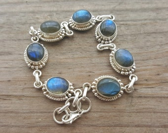 Labradorite Bracelet - Sterling Silver Bracelet - Gemstone Bracelet - Genuine Labradorite Jewelry - Crystal Bracelet