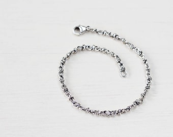 Wire Wrapped Link Chain Bracelet, Solid sterling silver, handcrafted silver chain bracelet for man or woman, artisan jewelry