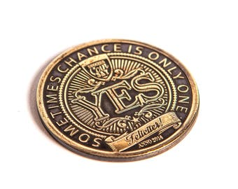 Limited eddition hand hammered success coin - a perfect gift for your indecisive friend - flipping coin - yes / no coin - success talisman