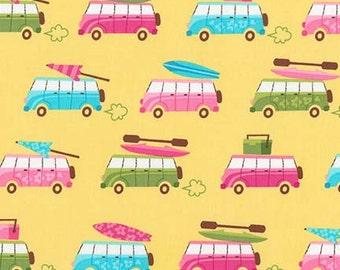 "Robert Kaufman, Caleb Gray's ""Beachy Keen"" on Yellow, vw vans, 1 yard"