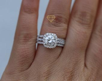 Halo Engagement Ring Set, 18K Solid White Gold, 3 Carat Bridal Set, Round  Cut Cushion Halo Wedding Ring Set, Double Wedding Bands, Set Of 3