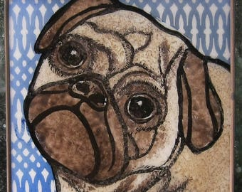 Pug Stained Glass Dog Suncatcher JRN259