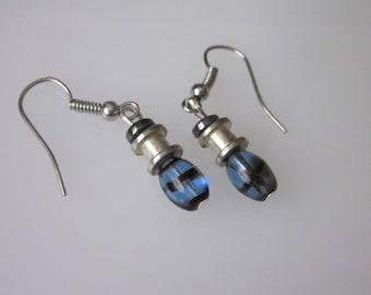 Unisex Earrings, Mens Dangle Earrings, Unisex Jewelry, Small  Earrings, Blue and Silver, Beaded Earrings, Modern Jewelry