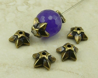 8mm Star Bead Caps TierraCast > Ornate Nautical Celestial Space Qty 4 - Brass Ox Plated LEAD FREE pewter - I ship Internationally 5776