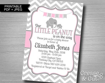 Little Peanut Elephant Baby Shower Invitation in Pink and Gray Girl Baby Personalized Digital Printable Invitation PDF and JPEG 4x6 or 5x7
