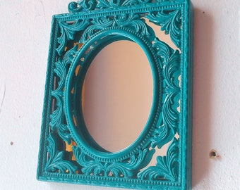 Small Decorative Wall Mirror, Turquoise Blue Vintage Brass Frame, Blue Nursery Wall Decor, Mid Century Modern, Made Italy, Secret Santa Gift