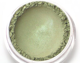 "Moss Gray with Green Shimmer Eyeshadow - ""Elvish"" - Vegan Mineral Eyeshadow"