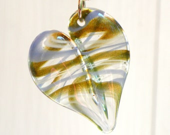 Glass Heart Jewelry Lampwork, Heart Pendant Necklace, Hand Blown Boro, Silver chain Borosilicate  Twisted Lines